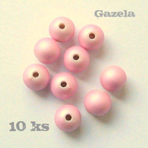 Korálky pogumované růžové - 10 ks