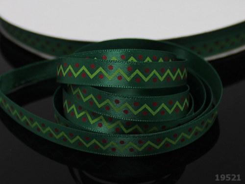 """19521 Stuha vánoční \""""cik-cak\"""" zelená, svazek 3m"""