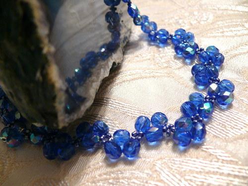 """Modrý \""""cik cak\"""" náhrdelník"""
