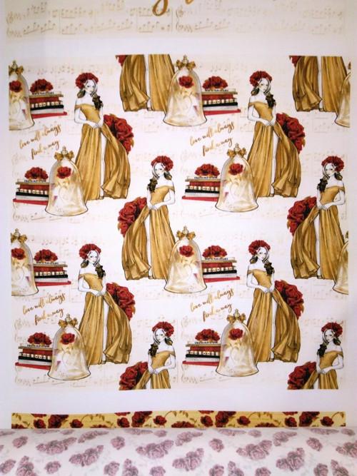 bavlněná látka - panel 35 x 35 cm KOLEKCE BELLE