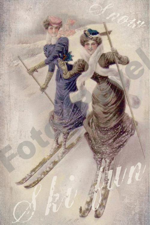 Vintage motiv - lyžování v roce 1910