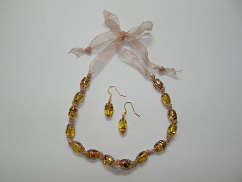 Sada náhrdelník s vázáním na mašličku, náušnice