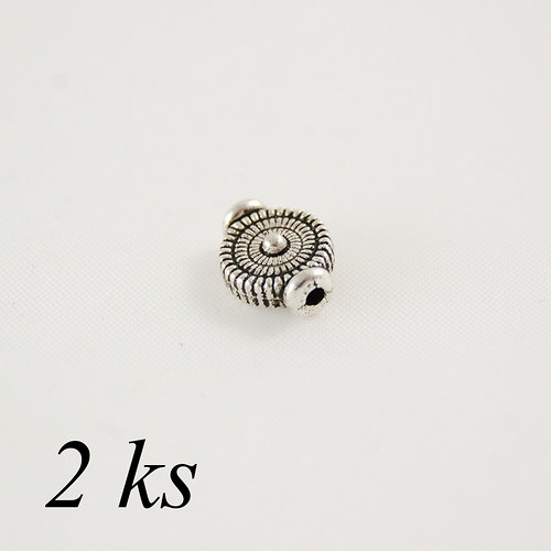 Korálek kruh s přídavkem  stříbrné barvy - 2ks