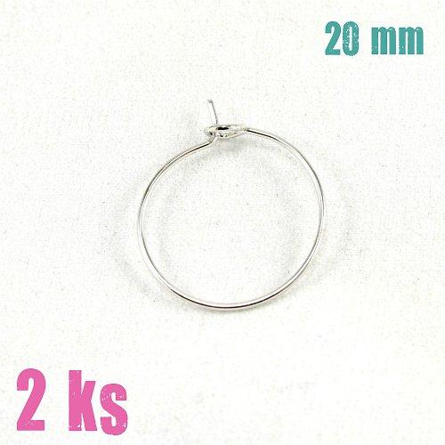 Kroužky na náušnice drátkové stříbrné, 20mm, 10 ks