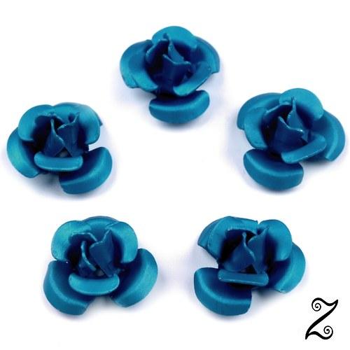 Kovová růžička, modrá tmavá, 12 mm (10ks)