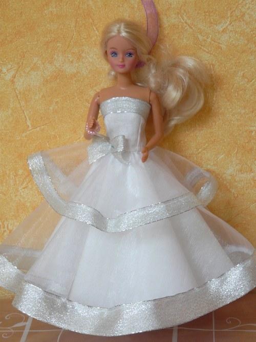 Šaty pro princeznu - bílo stříbrné