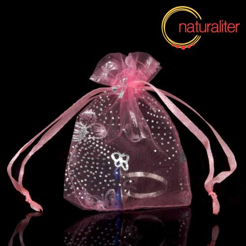 Dárkový organzový sáček růžový s motýly 12x9cm