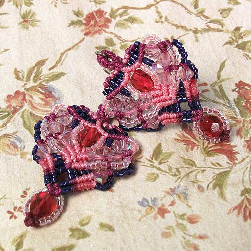 Macramé náušnice Alžběta růžové