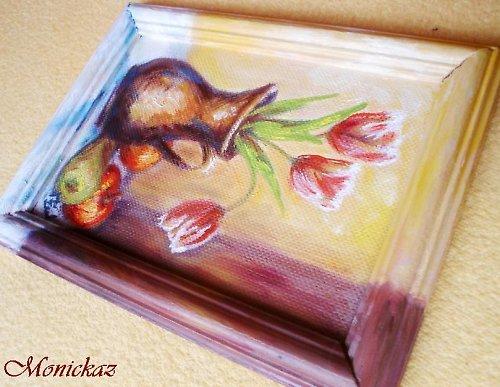 Zátiší s tulipány, olej