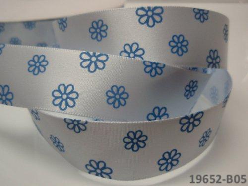 19652-B05 Stuha 22mm s květy SV.MODRÁ, svazek 2m