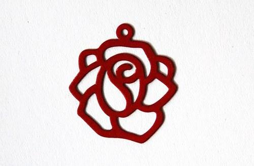 Růže červená 18x20mm