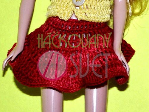SLEVA:Zvonová sukně pro Barbie - červené