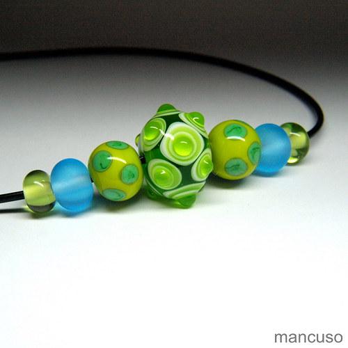 náhrdelník zelený s tyrkysovou