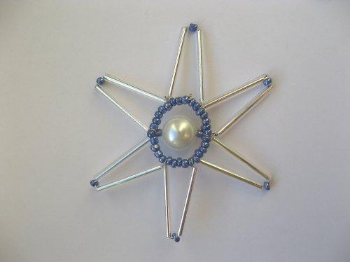 Vánoční hvězda stříbrno-modrá