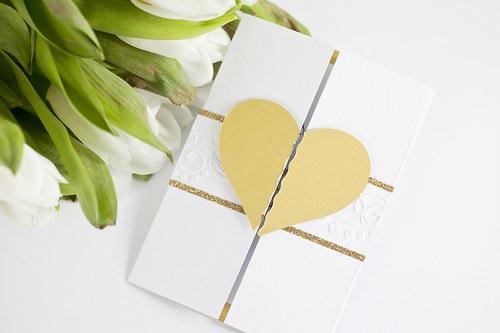 Zlaté srdce - svatební oznámení