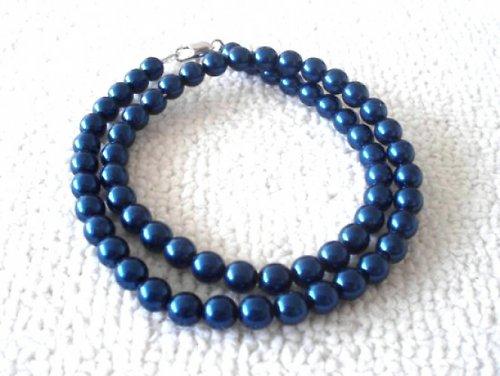Náhrdelník vosk tmavě modrý 8mm