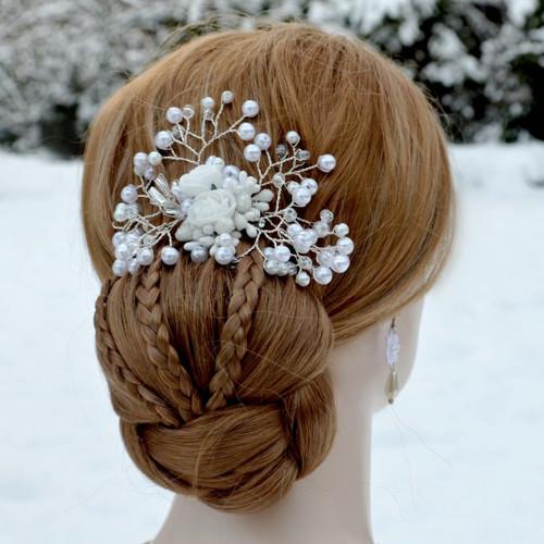 Svatební spona do vlasů bílá La Dalida