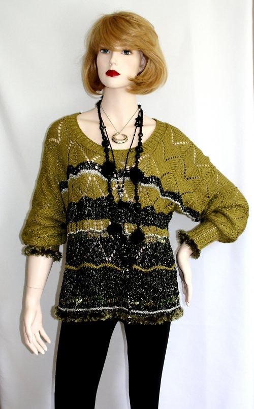 Zelenočerný jarní bavlněný svetr