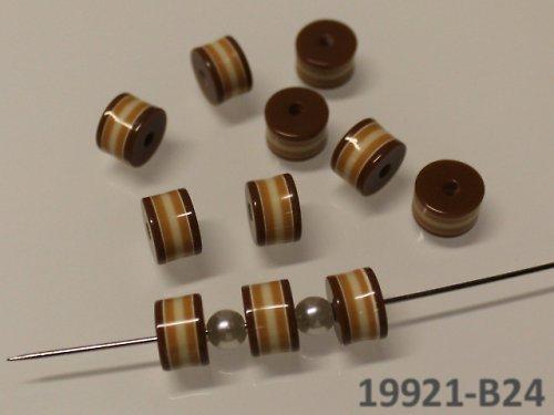 19921-B24 Korálky proužky válečky HNĚDÉ, bal.10ks