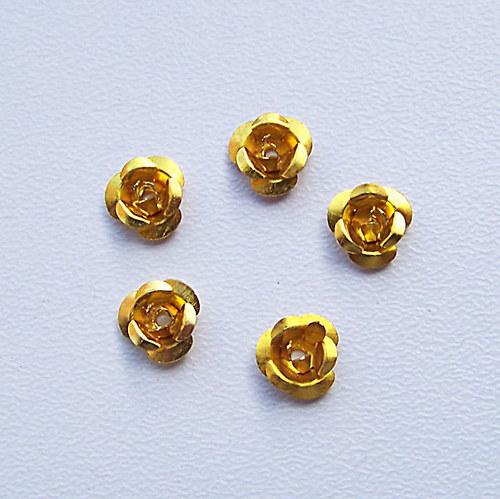 kovový korálek růže/ zlatá/ 6,5mm/ 10 ks