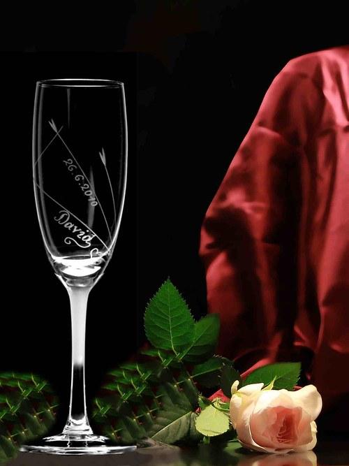 2x sklenice (šampus) svatební - spirálka a jména