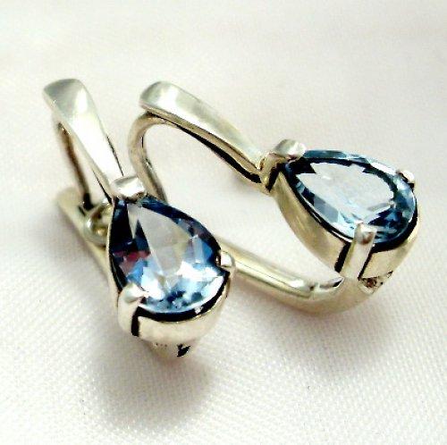 Náušnice «Déšť» - stříbro 925, modrý topaz