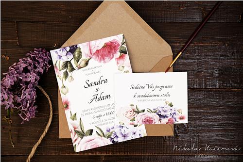 """Svadobné oznámenie \""""kvetinový záhon\"""""""