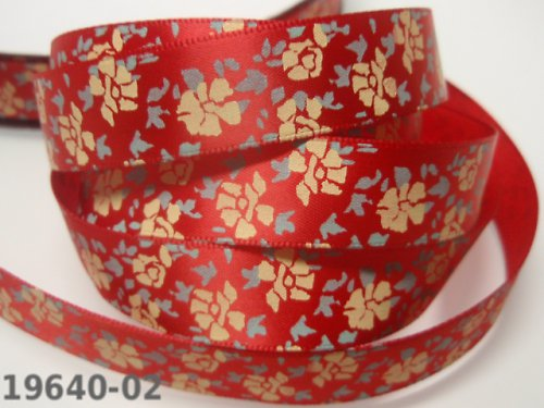 19641-B02 Stuha 16mm květy ČERVENÁ, svazek 3m
