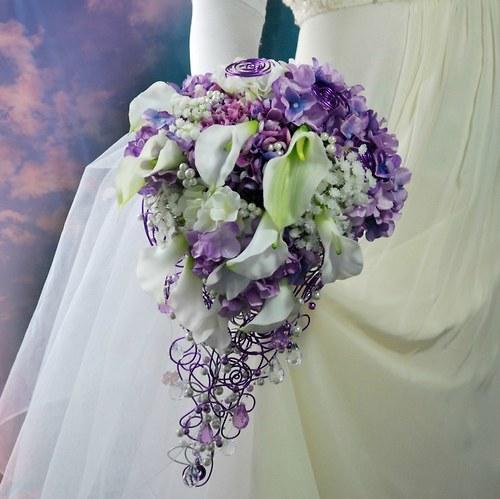 Svatební kytice  Hydrangea lila + korsáž