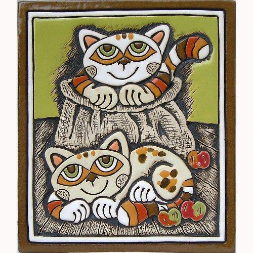 Keramický obrázek - Kočky v pytlíku K-115-Z