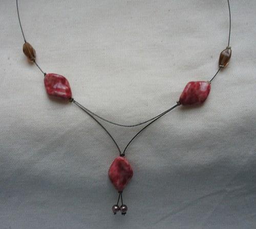 Červeno-hnědý náhrdelník - SLEVA!!!