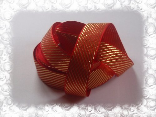 19205-B02 Stuha satén 25mm /1m červená lurex