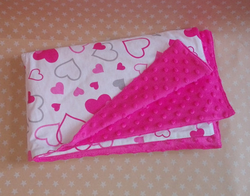 Oboustranná deka srdce (bavlna+minka)