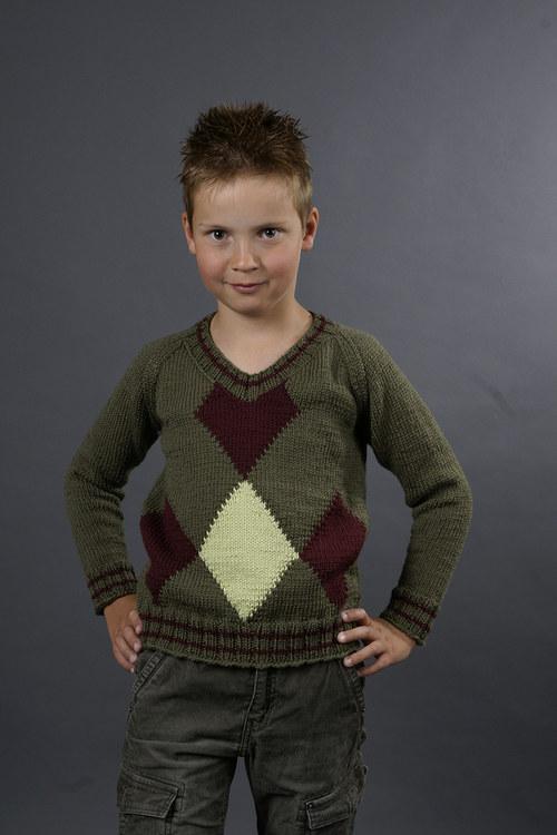 Popis - návod na pletený chlapecký svetr Army