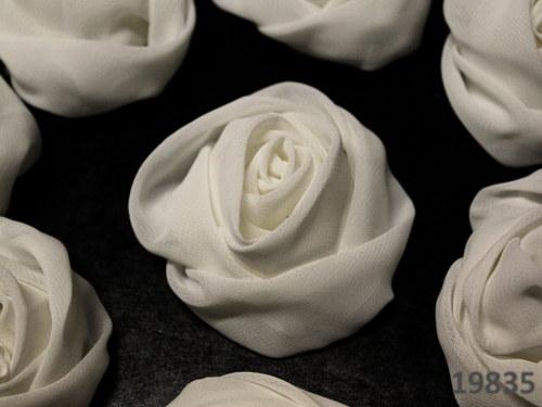 19835-B01 MAXI šifónová růže 50mm! BÍLÁ