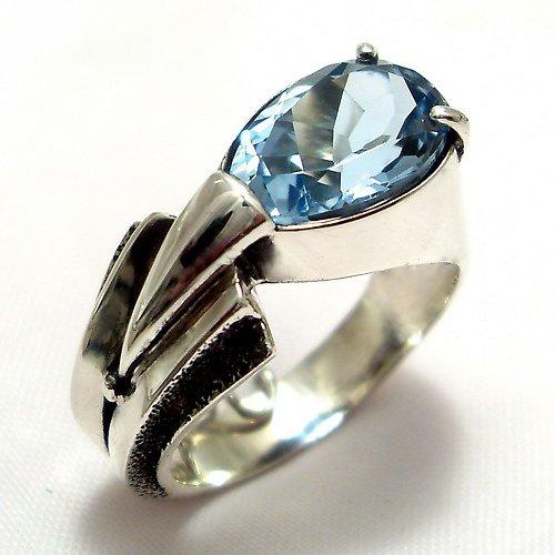 Prsten «Pero» - stříbro 925, modrý topaz