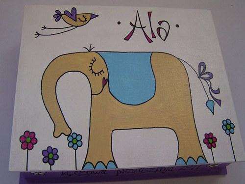 Slon s mašlí - malovaná krabička