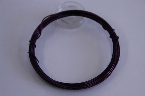 Měděný drátek 1mm - fialový, návin 3,8-4m
