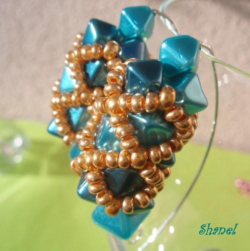 Lampionky elegant Turquoise in Gold