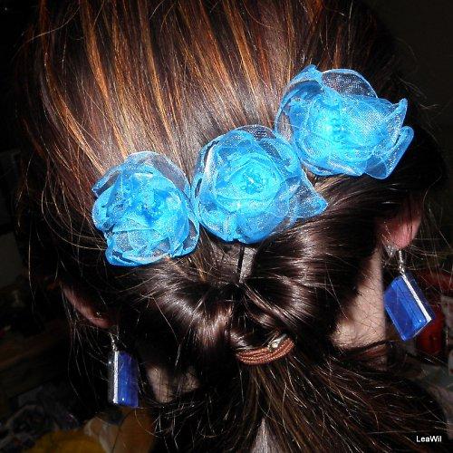 Vlásenka s modrým květem z organzy