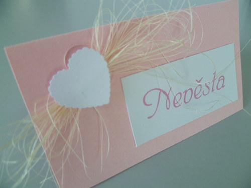 růžové jmenovky na svatební stůl,kokosové vlákno..