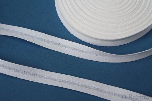 Šikmý proužek-bavlněný,bílý šíře 14 mm-cena za 2m!