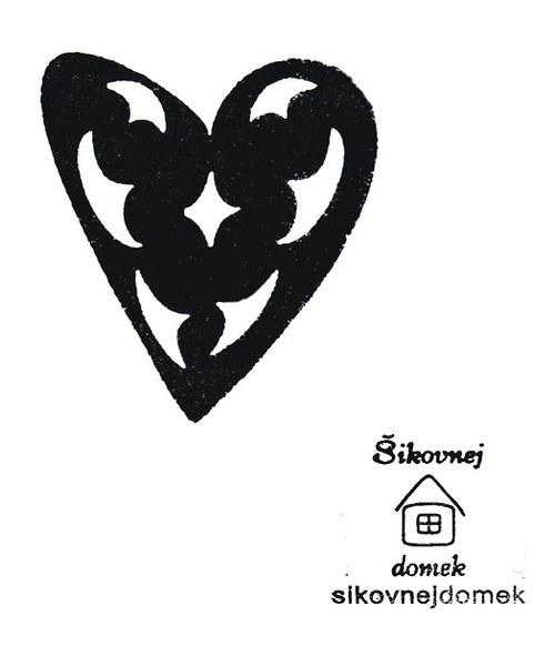 Razítko srdce-prořízlé ornamenty - 7,5x6,5cm
