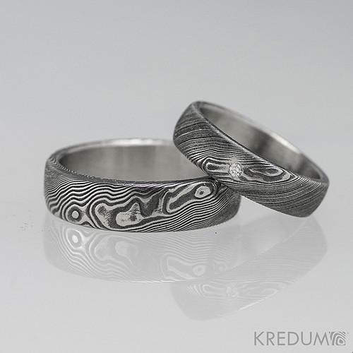 Snubní prsten damasteel PRIMA a diamant 1.5 mm