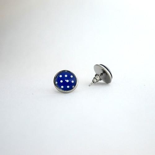 Modré puntíkaté náušnice z chirurgické oceli
