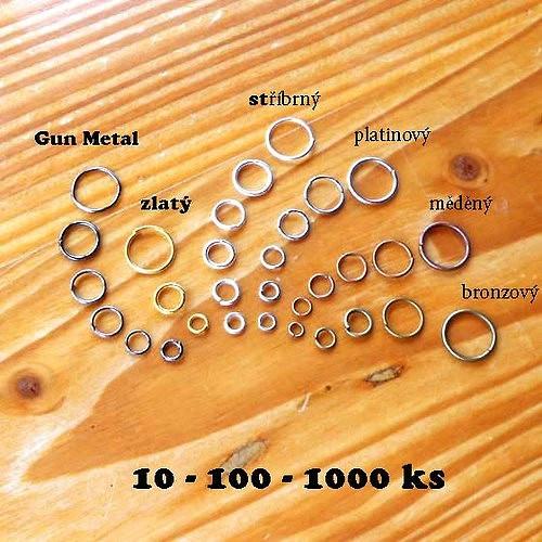 Kroužek 4mm - 10ks - Zlatý