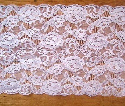 Široká bílá krajka s růžemi 19 cm