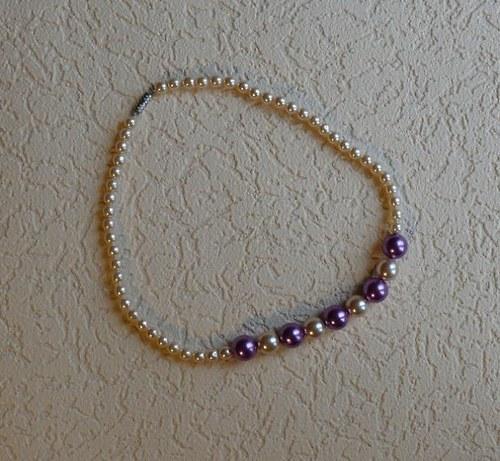 náhrdelník fialový - jednořadý