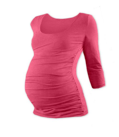 Těhotenské tričko 3/4 rukáv lososově růžové