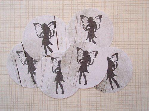 Výseky z papíru, s potiskem,  Placky, víla